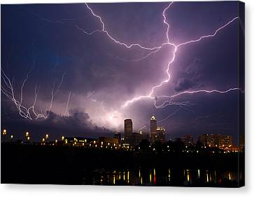 Storm Over City Canvas Print by Alexey Stiop