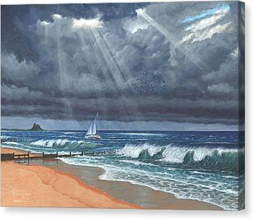 Storm Over Lindisfarne Canvas Print by Richard Harpum