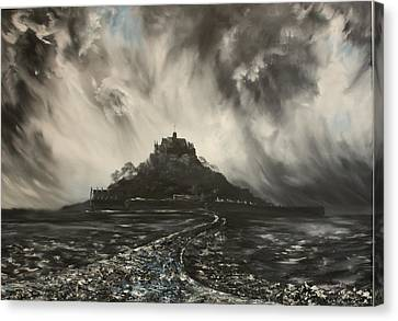 Canvas Print featuring the painting Storm Over St Michaels Mount Cornwall by Jean Walker