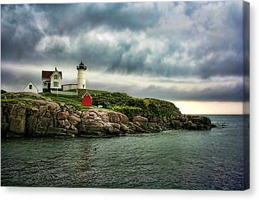 Cape Neddick Lighthouse Canvas Print - Storm Rolling In by Heather Applegate