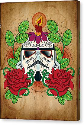 Storm Trooper Sugar Skull Canvas Print by Samuel Whitton