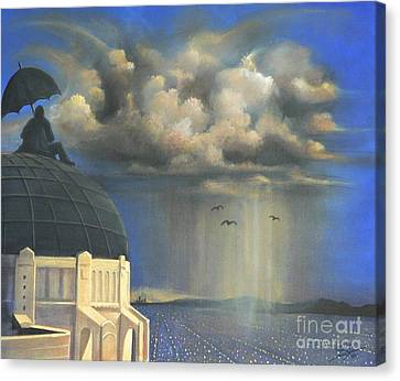 Canvas Print featuring the painting Storm Watch At Griffith's by S G