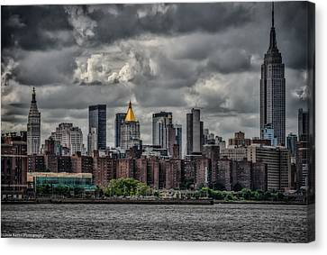 Canvas Print featuring the photograph Storm Weather Over Nyc by Linda Karlin