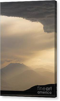 Kyrgyzstan Canvas Print - Stormclouds And Sunset Above Mountains At Toktogul In Kyrgyzstan by Robert Preston