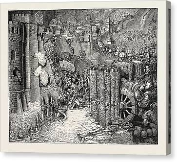 Storming Of A Town From An Old Ms Canvas Print by English School