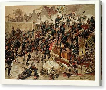 Storming Of The Great Barricade At The Entrance Of Le Canvas Print by French School