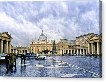 Storms Over St Peter's Basilica In Rome Canvas Print by Mark E Tisdale