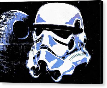 Stormtrooper Helmet And Death Star Canvas Print