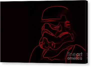 Canvas Print featuring the digital art Stormtrooper In Red by Chris Thomas