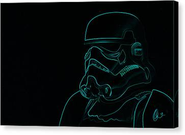 Canvas Print featuring the digital art Stormtrooper In Teal by Chris Thomas