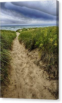 Stormy Beach Canvas Print by Sebastian Musial