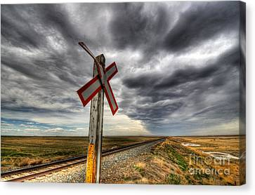 Train Crossing Canvas Print - Stormy Crossing by Bob Christopher