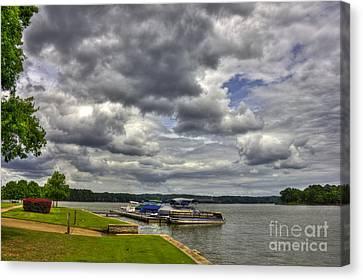 Stormy Day Dockside Lake Oconee Canvas Print by Reid Callaway