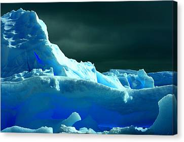 Canvas Print featuring the photograph Stormy Icebergs by Amanda Stadther