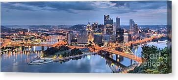 Stormy Morning Skies Over Pittsburgh Canvas Print by Adam Jewell