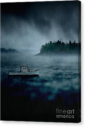 Stormy Night Off The Coast Of Maine Canvas Print by Edward Fielding