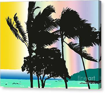 Stormy Palms Canvas Print by Karen Nicholson