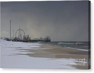 Stormy Piers Canvas Print by Laura Wroblewski