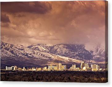 Canvas Print featuring the photograph Stormy Reno Sunrise by Janis Knight