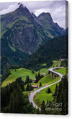 Vorarlberg Canvas Print - Stormy Village Of Schrocken - Austrian Alps  by Gary Whitton
