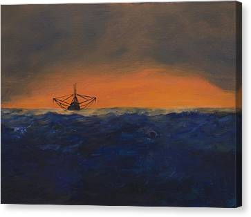 Canvas Print featuring the painting Stormy Sea by J Cheyenne Howell