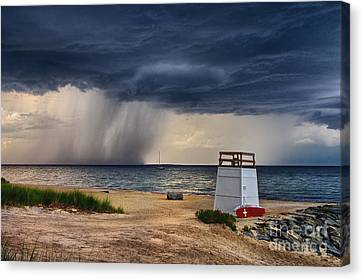 Stormy Seashore Canvas Print by Mark Miller