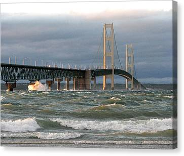 Stormy Straits Of Mackinac Canvas Print by Keith Stokes