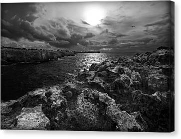 Blank And White Stormy Mediterranean Sunrise In Contrast With Black Rocks And Cliffs In Menorca  Canvas Print