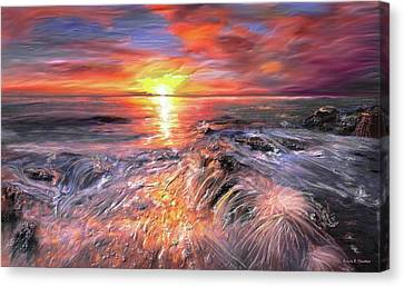 Stormy Sunset At Water's Edge Canvas Print by Angela A Stanton