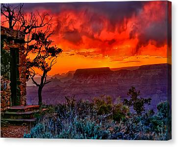 Stormy Sunset Greeting Card Canvas Print by Greg Norrell