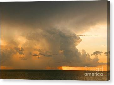 Canvas Print featuring the photograph Stormy Sunset by Mariarosa Rockefeller