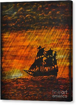 Stormy Sunset Canvas Print by Valerie Lynn