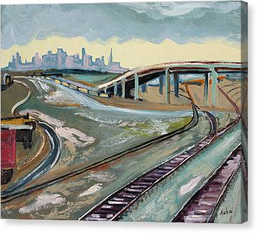 Canvas Print featuring the painting Stormy Train Tracks And San Francisco  by Asha Carolyn Young