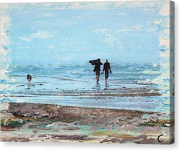 Dog Walking Canvas Print - Stormy Walk At Grenen by Cecilia Uneland