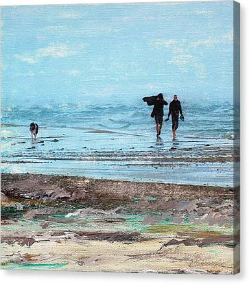 Dog Walking Canvas Print - Stormy Walk At Grenen Square by Cecilia Uneland