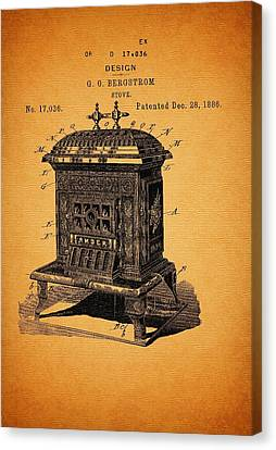 Stove Design And Patent 1886 Canvas Print by Mountain Dreams