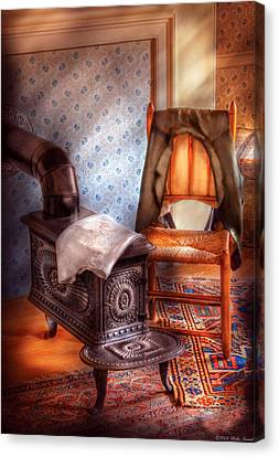 Stove - The Stove And The Chair  Canvas Print by Mike Savad