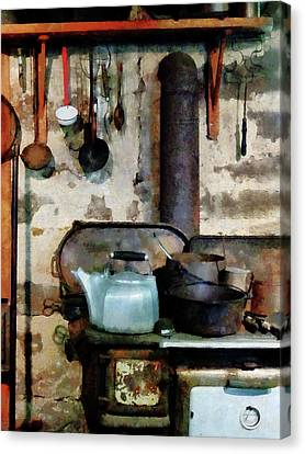 Stove With Tea Kettle Canvas Print by Susan Savad