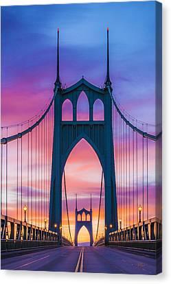 Straight Down The Bridge Canvas Print by Lori Grimmett