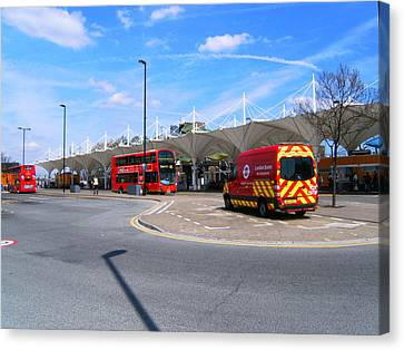 Canvas Print featuring the photograph Stratford Bus Station Study 01 by Mudiama Kammoh