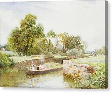 Stratford Lock Canvas Print by Arthur Claude Strachan