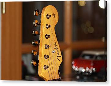 Canvas Print featuring the photograph Stratocaster Headstock by Chris Thomas