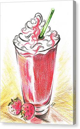 Strawberries And Cream Canvas Print by Teresa White