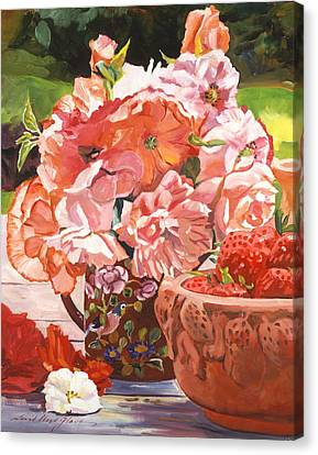 Strawberries And Flowers Canvas Print by David Lloyd Glover