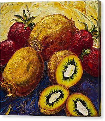 Strawberries And Kiwis Canvas Print by Paris Wyatt Llanso