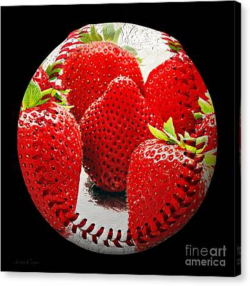 Strawberries Baseball Square Canvas Print by Andee Design