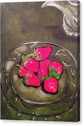 Canvas Print featuring the painting Strawberries by Brindha Naveen