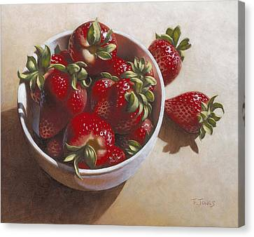 Strawberries In China Dish Canvas Print by Timothy Jones
