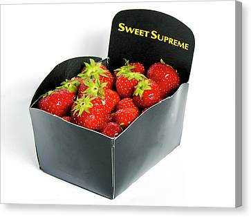Cardboard Canvas Print - Strawberries In Display Carton by Ian Gowland