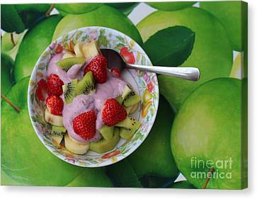 Strawberries Kiwi Banana Yogurt - Fruit - Dessert - Food Canvas Print by Barbara Griffin